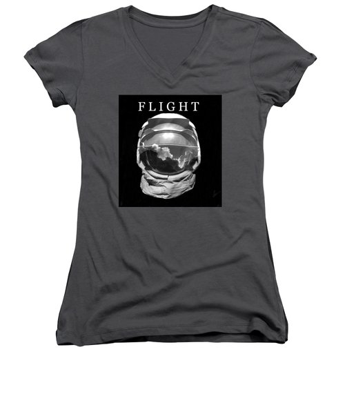 Women's V-Neck T-Shirt (Junior Cut) featuring the photograph Flight by David Lee Thompson