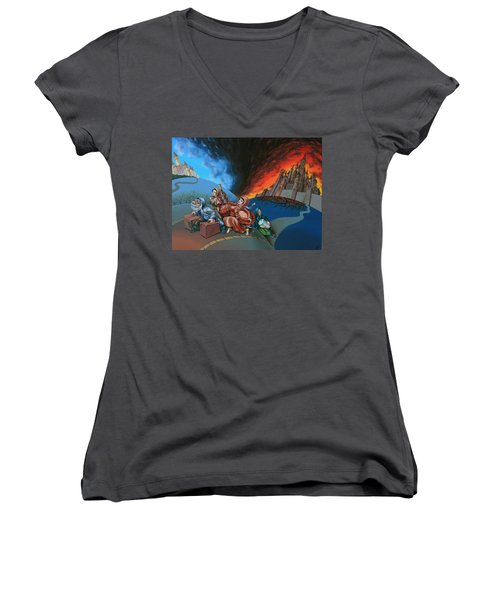 Flight Of Lot Out From Sodom Women's V-Neck