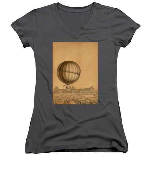 Flight Over Paris Women's V-Neck T-Shirt