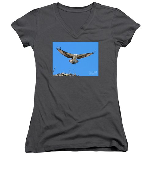 Women's V-Neck T-Shirt featuring the photograph Flight Practice Over The Nest by Debbie Stahre