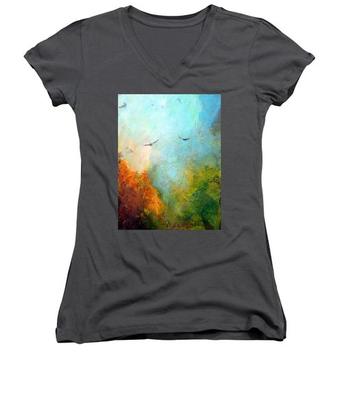 Flights Of Fancy Women's V-Neck T-Shirt (Junior Cut) by Dina Dargo