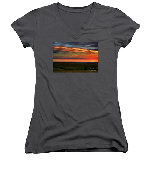 Women's V-Neck T-Shirt (Junior Cut) featuring the photograph Flint Hills Sunrise by Thomas Bomstad