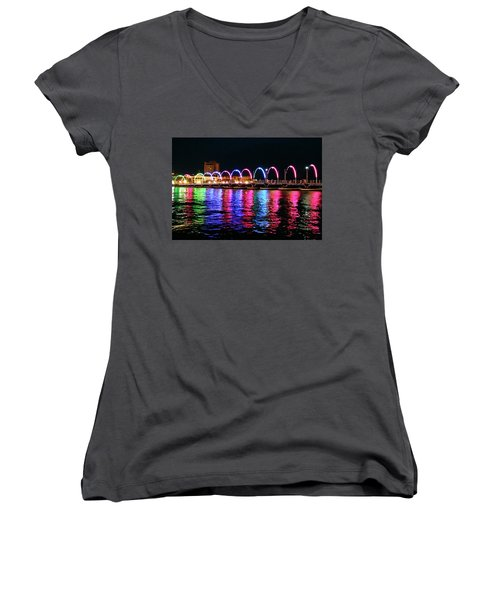 Women's V-Neck T-Shirt (Junior Cut) featuring the photograph Floating Bridge, Willemstad, Curacao by Kurt Van Wagner