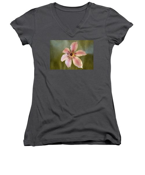 Floating Clematis Blossom Women's V-Neck (Athletic Fit)