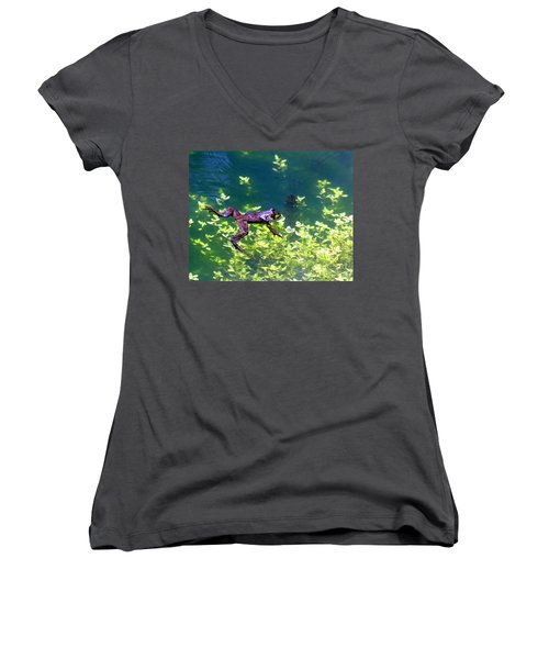 Floating Frog Women's V-Neck T-Shirt (Junior Cut) by Nick Gustafson
