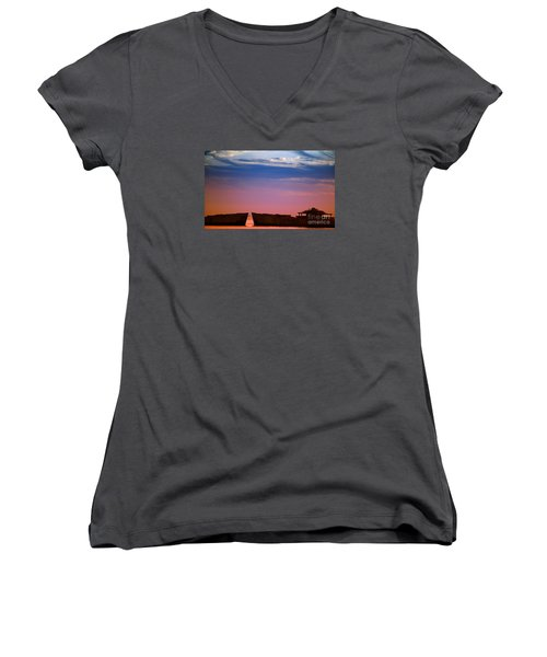 Floating On Orange Women's V-Neck T-Shirt (Junior Cut) by Rebecca Davis