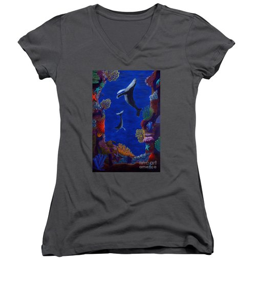 Floating Whales Women's V-Neck T-Shirt (Junior Cut) by Rebecca Parker