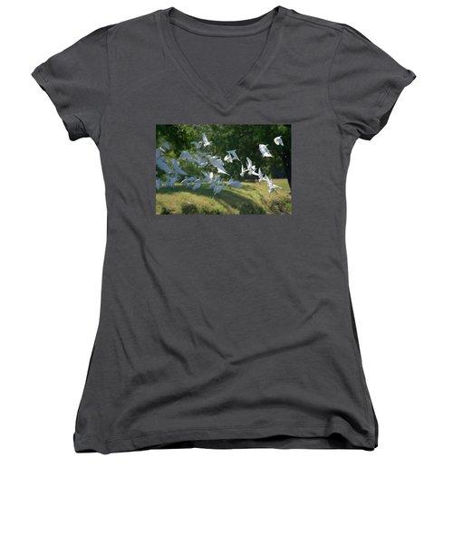Flock Of Egrets In Flight Women's V-Neck T-Shirt