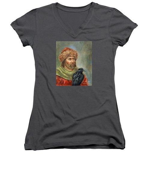 Floki Vilgerdarson Women's V-Neck T-Shirt (Junior Cut) by Arturas Slapsys