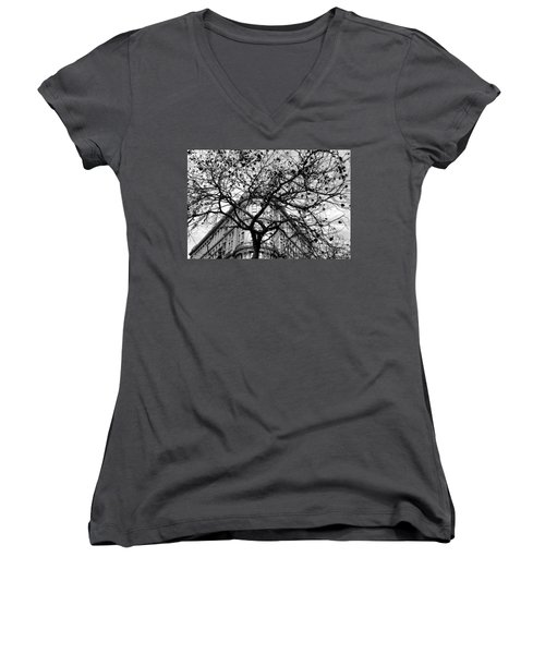 Flood Building - San Francisco - Corner Tree View Black And White Women's V-Neck (Athletic Fit)