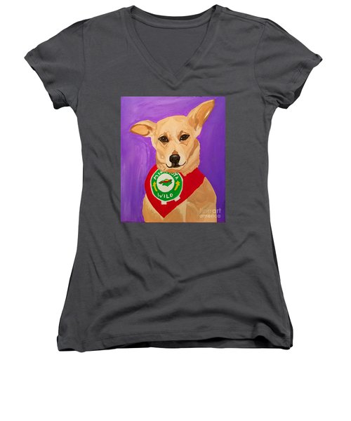 Women's V-Neck T-Shirt (Junior Cut) featuring the painting Floppy Ear by Ania M Milo