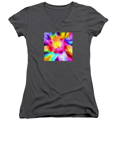 Women's V-Neck T-Shirt (Junior Cut) featuring the photograph Floral Mandala 02 by Jack Torcello
