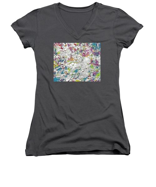 Floral Rainbow Women's V-Neck