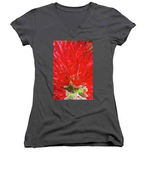 Floral Red Women's V-Neck (Athletic Fit)