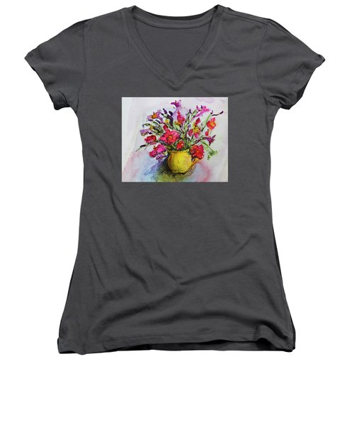 Floral Still Life 05 Women's V-Neck T-Shirt (Junior Cut) by Linde Townsend