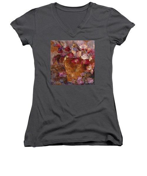 Floral Still Life Pinks Women's V-Neck T-Shirt