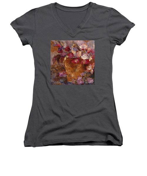 Floral Still Life Pinks Women's V-Neck (Athletic Fit)