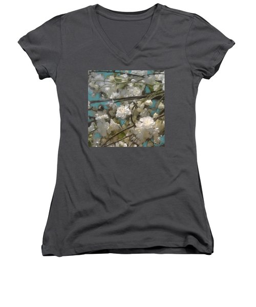 Floral01 Women's V-Neck (Athletic Fit)