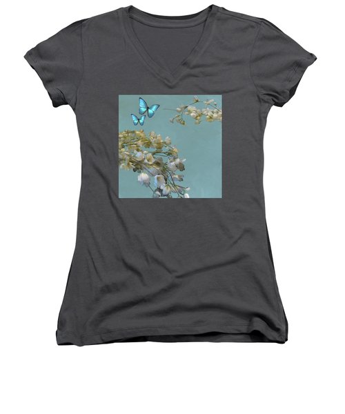 Floral04 Women's V-Neck (Athletic Fit)
