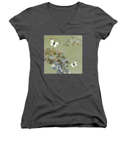 Floral07 Women's V-Neck (Athletic Fit)