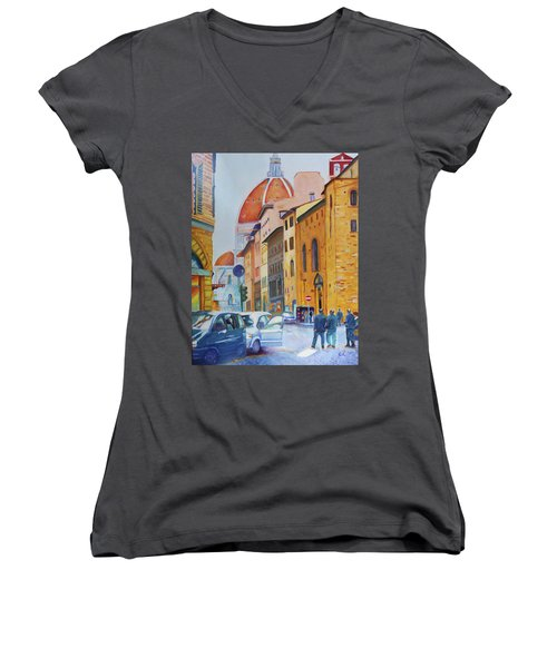 Florence Going To The Duomo Women's V-Neck T-Shirt