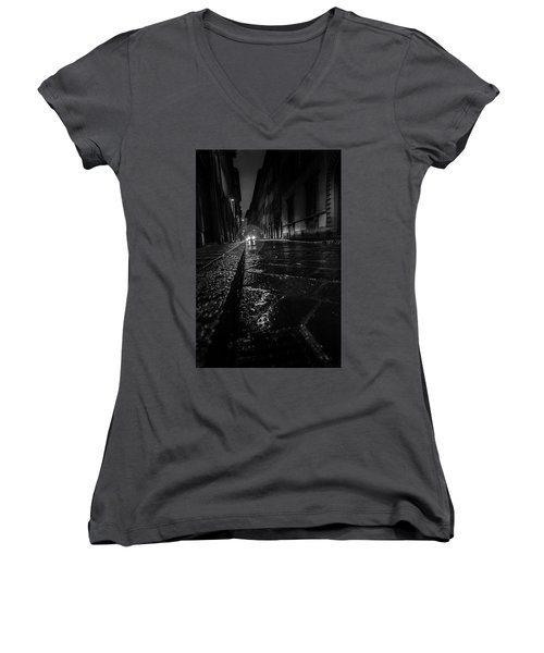 Women's V-Neck T-Shirt (Junior Cut) featuring the photograph Florence Nights by Sonny Marcyan