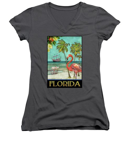 Women's V-Neck T-Shirt featuring the photograph Florida Advertisement by Hanny Heim