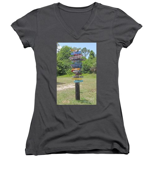 Women's V-Neck T-Shirt (Junior Cut) featuring the photograph Florida Crossroads 3 by Dodie Ulery