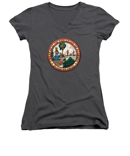 Florida State Seal Over Blue Velvet Women's V-Neck T-Shirt (Junior Cut) by Serge Averbukh