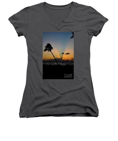 Women's V-Neck T-Shirt (Junior Cut) featuring the photograph Florida Sunrise Palm by Kelly Wade