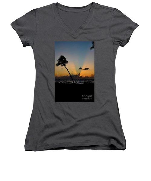 Florida Sunrise Palm Women's V-Neck T-Shirt (Junior Cut) by Kelly Wade
