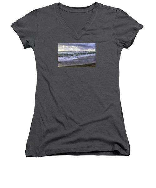 Florida Treasure Coast Beach Storm Waves Women's V-Neck T-Shirt (Junior Cut) by Betty Denise