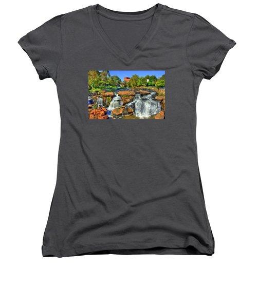 Flow On Reedy River Falls Park Art Greenville Sc Women's V-Neck T-Shirt (Junior Cut) by Reid Callaway