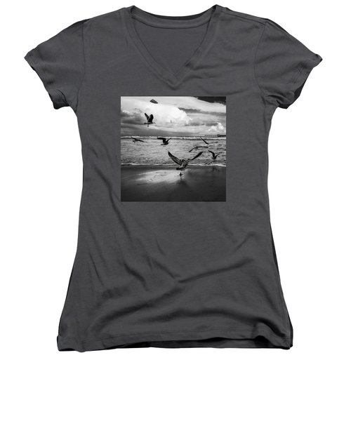 Women's V-Neck T-Shirt (Junior Cut) featuring the photograph Flow by Ryan Weddle