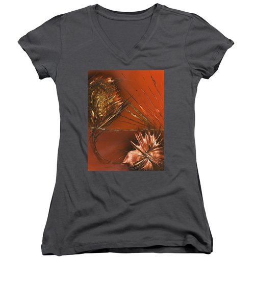 Flower Abstract In Orange And Brown Women's V-Neck (Athletic Fit)