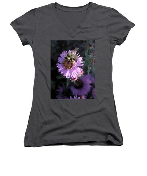 Flower And Bee Women's V-Neck