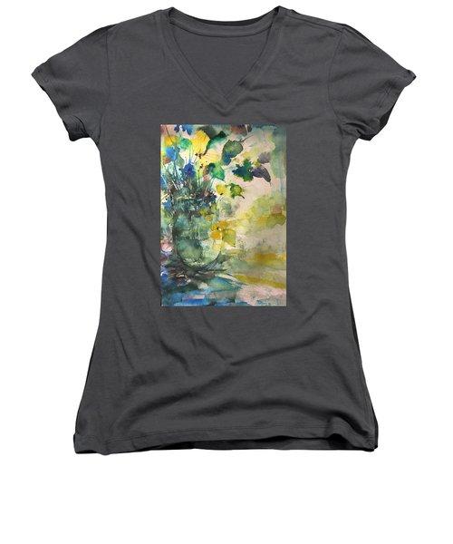 Flower And Vase Stilllife  Women's V-Neck T-Shirt (Junior Cut) by Robin Miller-Bookhout