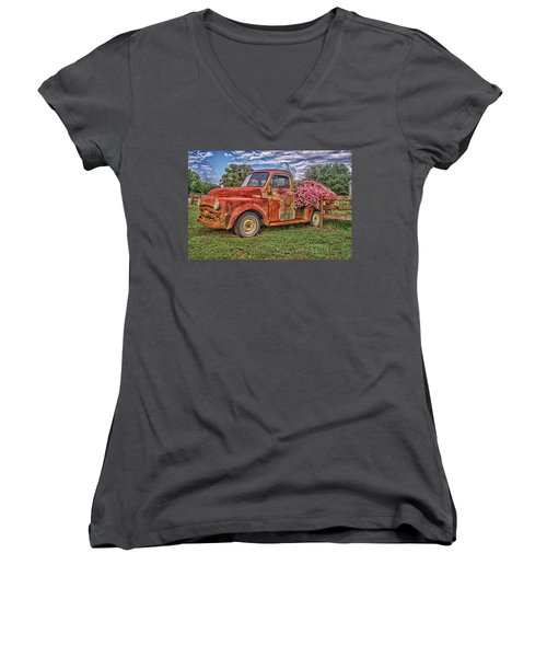 Dodge Flower Bed Women's V-Neck T-Shirt