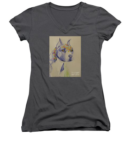 Women's V-Neck T-Shirt (Junior Cut) featuring the photograph Flower Dog 1 by Hilda and Jose Garrancho