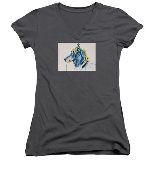 Women's V-Neck T-Shirt (Junior Cut) featuring the painting Flower Dog 8 by Hilda and Jose Garrancho