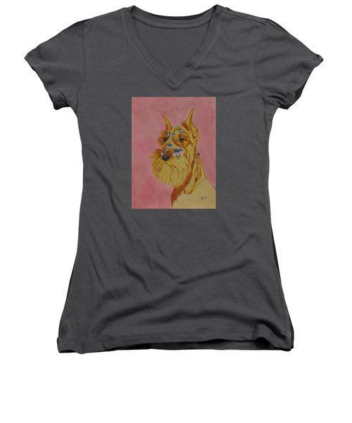 Women's V-Neck T-Shirt (Junior Cut) featuring the painting Flower Dog 9 by Hilda and Jose Garrancho
