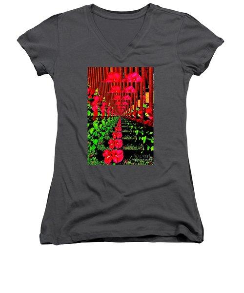 Women's V-Neck T-Shirt (Junior Cut) featuring the digital art Flower Garden Abstract by Marsha Heiken