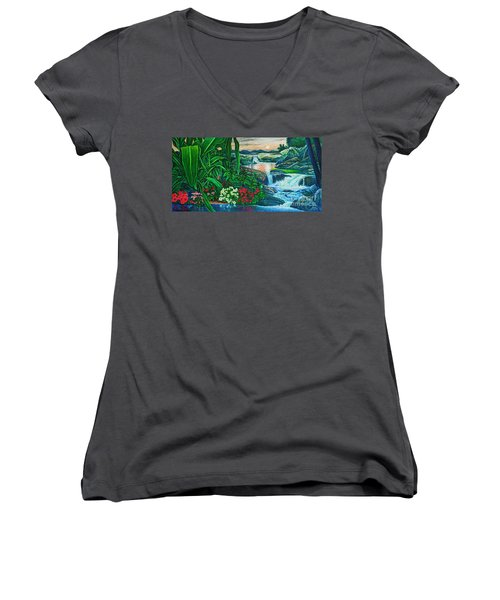 Women's V-Neck T-Shirt (Junior Cut) featuring the painting Flower Garden Ix by Michael Frank