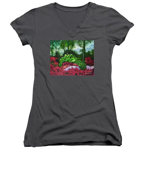 Women's V-Neck T-Shirt (Junior Cut) featuring the painting Flower Garden X by Michael Frank