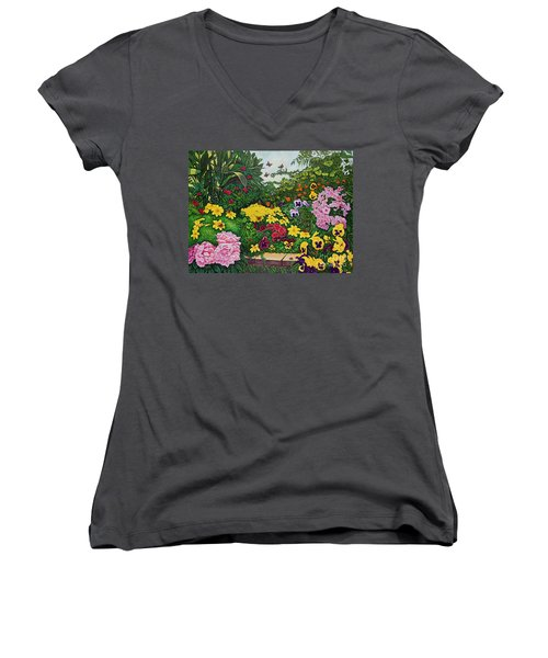 Women's V-Neck T-Shirt (Junior Cut) featuring the painting Flower Garden Xii by Michael Frank