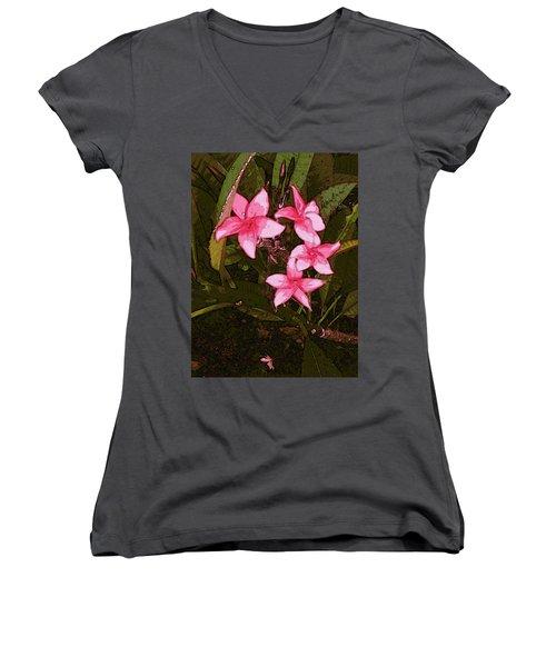 Women's V-Neck T-Shirt featuring the digital art Flower Gems by Winsome Gunning