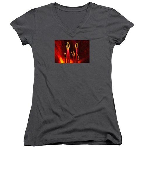 Flower Inside Women's V-Neck T-Shirt (Junior Cut) by Andre Faubert