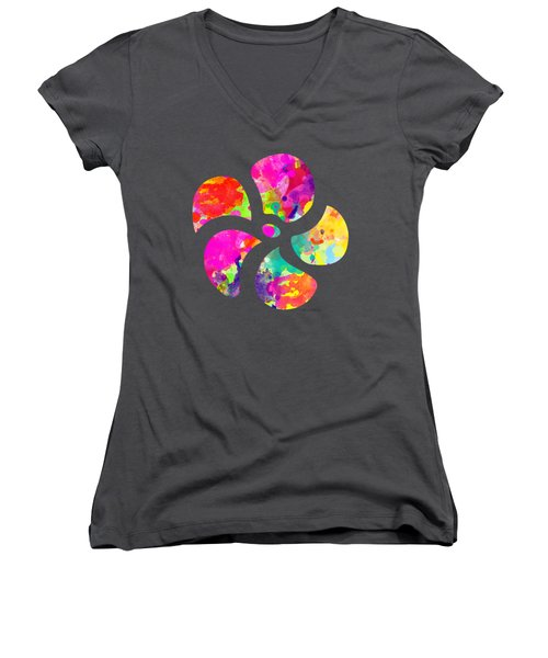 Flower Power 1 - Tee Shirt Design Women's V-Neck T-Shirt (Junior Cut) by Debbie Portwood