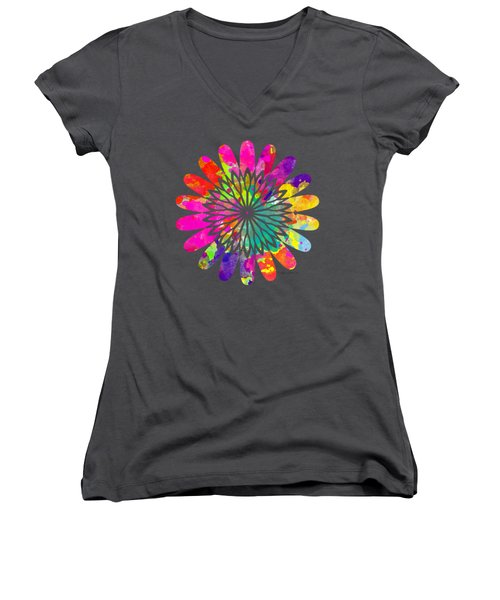 Flower Power 3 - Tee Shirt Design Women's V-Neck T-Shirt (Junior Cut) by Debbie Portwood
