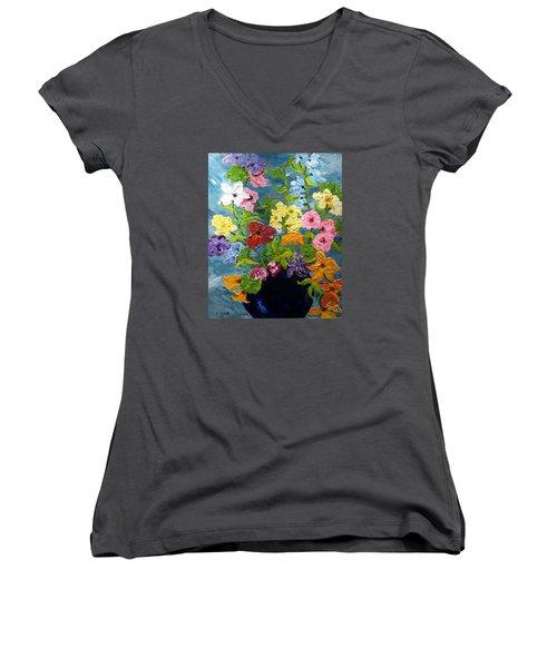 Flower Power Women's V-Neck T-Shirt (Junior Cut) by Diane Arlitt